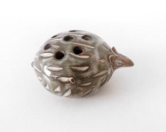 Ceramic flower frog, ikebana vase armadillo shaped | Vallauris S. Ferraro
