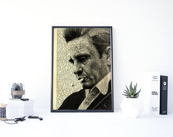Johnny Cash Art, Johnny Cash Poster, Country Home Decor, Johnny Cash Gift, Johnny Cash Print, Country Music Decor, Rock and Roll Art