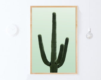 Large Botanical Print, Green Art Print, Saguaro Cactus Art, Digital Download Art, Green Cactus Photography Green Wall Art Modern Print 24x36