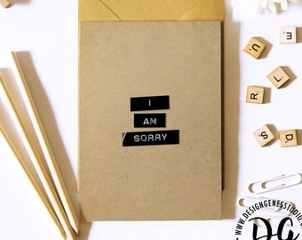 Minimal apology card, I am sorry card, simple apology card, simple sympathy card, rustic card, kraft paper card, rustic sympathy card