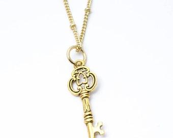 Golden key necklace