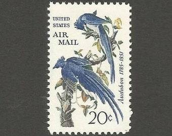 10 Blue Jay Vintage Postage Stamps, 20 Cents, Unused # C71