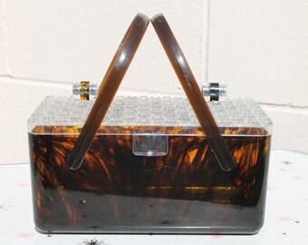 Vintage Merle Norman Handbag Cosmetic Case Tortoise Shell Double Handle Lucite Purse