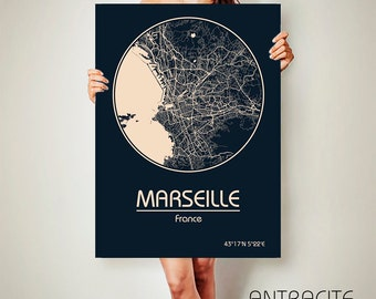 MARSEILLE France CANVAS Map Marseille Poster City Map Marseille France Art Print Marseille poster Marseille map art Poster Marseille map