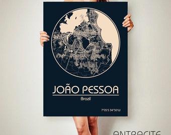 João Pessoa Brazil CANVAS Map João Pessoa Brazil Poster City Map João Pessoa Brazil Art Print Brazil poster Brazil map art Poster Brazil map