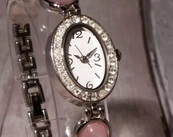 Rose Watch. Pink Watch. Girls Watch. Gemstone Watch. Pink Gem Watch. Pink Silver Watch. Gem Watch. Watch with Gemstone. Beaded Watch. Gem