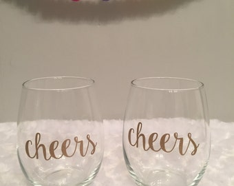 Cheers Wine Glasses, Wedding Wine Glasses, Stemless Wine Glasses, Bachelorette Wine Glasses, Personalized Stemless Wine Glasses