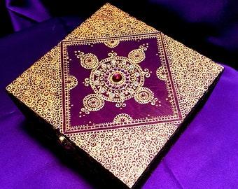Moroccan Keepsake Wooden Box in Starlight Purple with Jewel Tone Gemstones.
