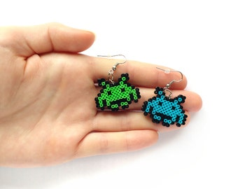 Space Arcade Earrings - Geeky Earrings, Mini Perler Beads, Mini Hama Beads, 8BitEarrings
