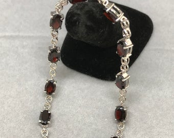 Sterling Silver Bracelet with Natural Garnet, Appraised 563 USD