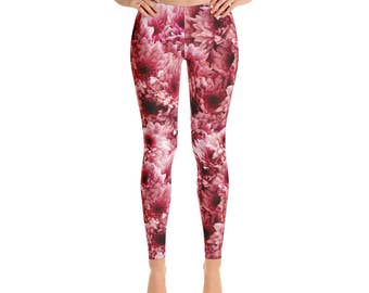Mid Rise Flower Leggings - Pink Floral Yoga Pants, Stretch Pants, Printed Tights, Spring Leggings for Women, Print Leggings