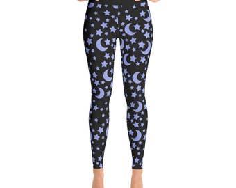 Star Leggings - Blue and Black Night Sky Yoga Pants, Moons and Stars Printed Tights, Space Leggings