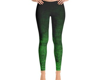 Green Ombre Yoga Pants - Grunge Green and Black Leggings, Ombre Leggings, Green Leggings, Fashion Tights, Footless Tights
