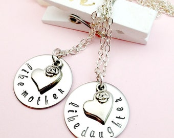 Hand Stamped, Like Mother, Like Daughter Necklaces, Stainless Steel, Gifts for Her, Gifts for Mom