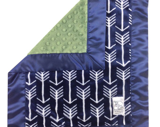 Featured listing image: Navy Arrows Security Blanket Navy Olive Green