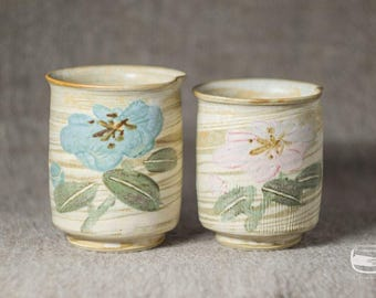 Couple of Meoto Yunomi tea cups for Japanese tea - handmade *0621-1