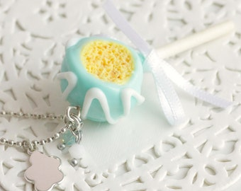 Cake Pop polymer clay necklace, silver ball chain, satin bow. Handmade polymer clay