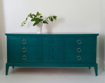 SoldMid Century dresser, credenza , peacock-emerald-teal gloss paint, Hollywood Regency