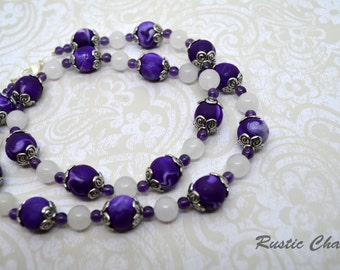 Quartzite & and Purple Polymer Necklace