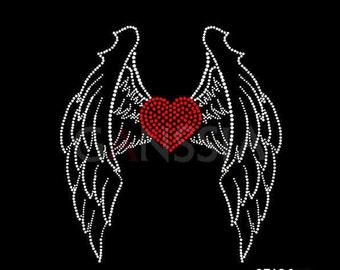 "Rhinestone Iron on DIY Hot Fix Transfer 'wings with heart"""