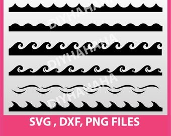 Instant Download, Waves SVG, DXF, PNG Formats,  wave clip art, cutting files 003