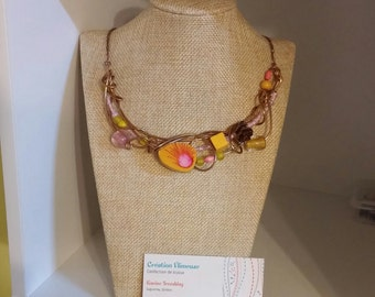 Summer madness necklace, bronze wire, pinecone