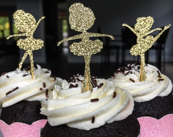 Ballerina Cupcake Toppers • Ballet Birthday Toppers • Baby Shower Cupcake Toppers • First Birthday • Pink and Gold • Food Picks