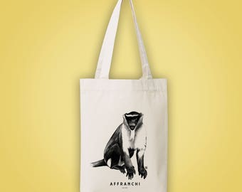 Sac cabas en toile recyclée (recycled woven tote bag, shopping bag) singe AFFRANCHI unfettered freed emancipated animal totem illustration