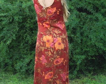Vintage 90s Floral Autumn Dress