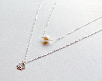 Sterling Silver Layering Necklaces Lotus Necklace Pearl Choker 925 Silver Gifts for Her