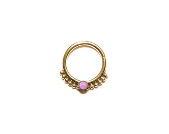 Gold SEPTUM RING 2mm Pink Opal / helix piercing, tragus earring, septum 14g, nose ring, cartilage earring hoop, septum hoop