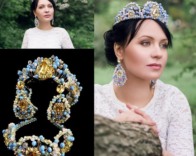 Wedding Tiara Crown earrings cornflower blue Pink jewelry set For mother and daughter Children's Crown Princesses Bridal Mum and me Crown