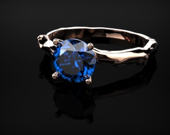 Sapphire Rose Gold Branch Ring Rose Gold Sapphire Engagement Ring Sapphire Ring Sapphire in Rose Gold Sapphire Ring December Birthstone