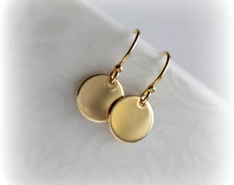 Small Gold Earrings, Simple Gold Disc Earrings, Gold Disc Earrings, Gift for Her, Dainty Gold Earrings, 14k Gold Fill Earrings by Blissaria