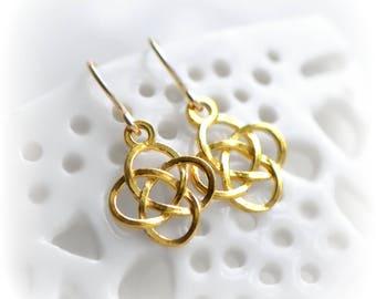 Celtic Knot Earrings, Small Celtic Dangle Earrings in Gold, Earrings, Celtic Gift for Her, Love Knot Earrings, Gold Irish Earrings Blissaria