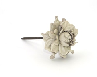 Statement wood floral hair stick, genuine leather beige ivory rose natural wooden hair fork, flower hairfork|Handmade hair accessory jewelry