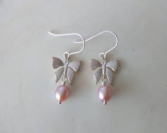 Fairy Tale Butterfly - Natural Purple Fresh Water Pearls Sterling Silver Earrings