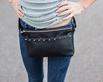 Studded Fanny Pack - Black Fanny Pack Spikes - Black Leather Fanny Pack - Waist Bag - Hip Purse - Hip Bag - Designer Fanny Pack for Women
