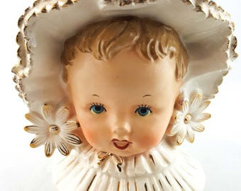 Vintage Baby Head Vase with White and Gilt Bonnet