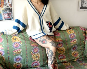 football cardigan/ vintage football cardigan / oversize cardigan/ white sweater / high school cardigan