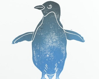 Penguin.  Linocut. Image / hand printed