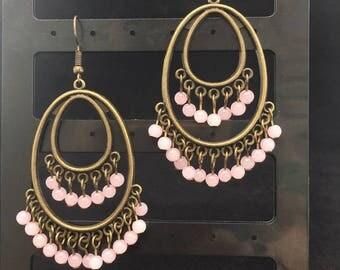 Antique bronze chandelier earrings with dainty rose quartz