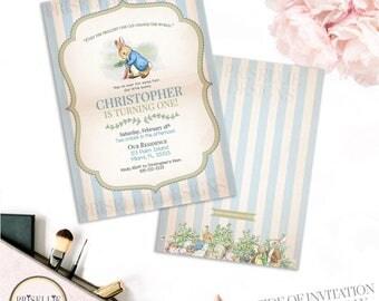 Peter Rabbit Birthday Invitation, Peter Rabbit Invitation, Peter Rabbit Theme, Classic Birthday Invitation, Peter Rabbit Boy Birthday, 026-B