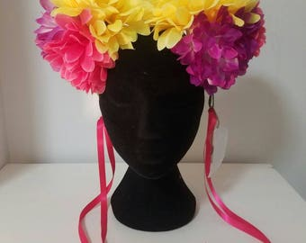 Pom Pom flower headpiece / festival headpiece / burning man / party headpiece / boho / bohomeiam / festival headdress  / Glastonbury