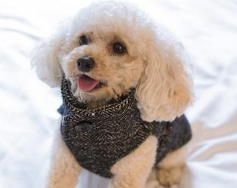 dog tweed winter coat - dog winter coat - dog custom made coat - dog winter jacket - dog coat - dog clothes - winter coat for dogs