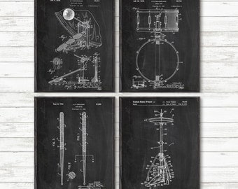 Drum Art Patent Posters Group of 4,Prints, Drummer Art,Cymbal, Drum Patent, Snare Drum, Percussion, Music Room Decor, Boys Room Decor #P344