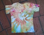 Hand Dyed T-Shirt - Rabbitskins Lapnecked shirt - Size 12 Months -  Orange and tan, with green and white -  Conch Shell  Tie Dye