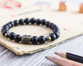 8mm - Matte black onyx beaded stretchy bracelet with bronze Buddha bead, mens bracelet, womens bracelet, black gemstone bracelet
