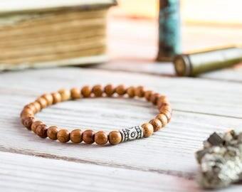 5mm - Sandalwood beaded stretchy bracelet, natural wooden bracelet, made to order yoga bracelet, mens bracelet, beaded bracelet, casual