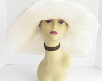 Ivory 306 NEW Kentucky Derby, Church, Wedding, Tea Party 3 Layers Sinamay & Organza Wide Brim Dress Hat